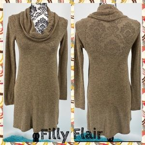 Filly Flair tan cowl neck tunic knit top dress